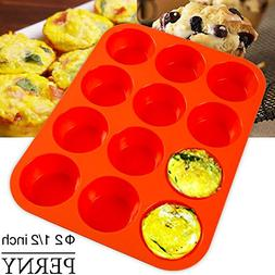 PERNY 12-Cup Silicone Muffin Pan / Non-Stick Muffin Tray Red