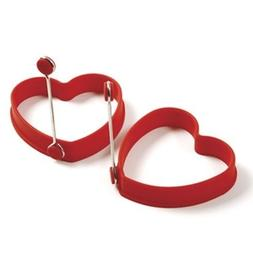 Silicone Pancake Egg Rings Heart 2 Pieces Red Norpro 999r