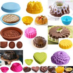 Silicone Round Cake Bundt Mold Pan Muffin Bread Pizza Pastry