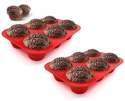 Sorbus 6 Cup Silicone Texas Muffin Baking Pans, 6 Cup Large,