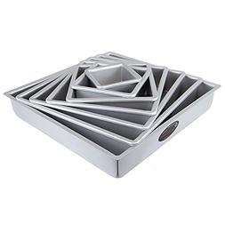 "Fat Daddio's Square Cake Pan Set 4""- 6""-8""-10""-12"""