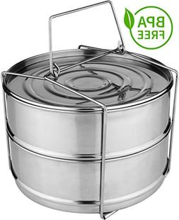 PREMIUM Stackable Steamer Insert Pans with Sling for Instant
