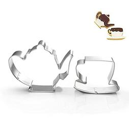 ZJWEI Teapot Cup Cookie Cutter for Celebrations Christmas Bi
