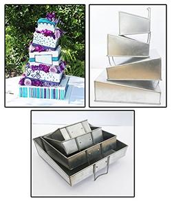Set of 4 Tier Mini Topsy Turvy Square Multilayer Birthday We