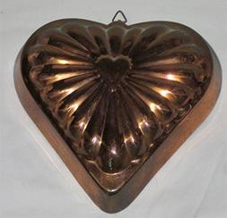 Vintage Coppertone & Tin 7 1/2 x 7 Inch Heart Shaped Jell-O